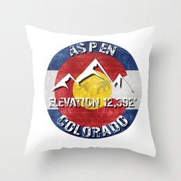 Aspen Colorado Ski Snowboard Snowmass Flag Resort Throw Pillow