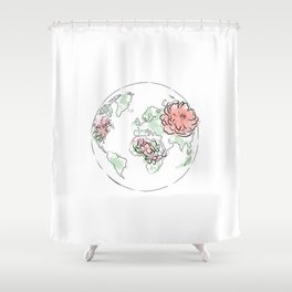 Antique World Map #Red Shower Curtain