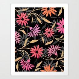 Stylized Flower Pattern 4 Art Print
