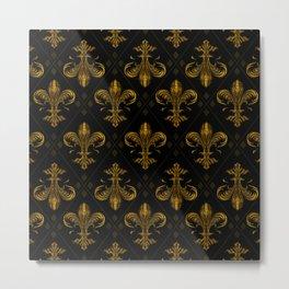 Fleur-de-lis pattern vintage gold Metal Print