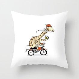 Giraffe on a motorbike eating a cheese sandwich... Throw Pillow
