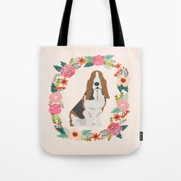 basset hound floral wreath dog gifts pet portraits Tote Bag