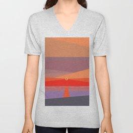 Sunset on the beach at 5:32 pm Unisex V-Neck