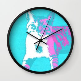 Two Toned Neon Cat Wall Clock