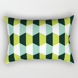 Geometric Pattern #51 (lime teal hexagons) Rectangular Pillow
