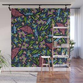 Tropical Neon Pattern: Blue Iguanas Wall Mural
