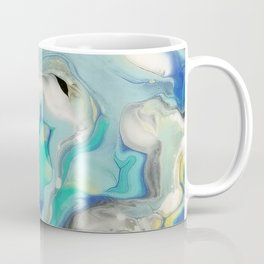 Blue & Yellow Marble Ocean Minimalist Pour Painting Coffee Mug