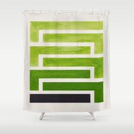 Olive Green Inca Braid Minimalist Geometric Pattern Mid Century Modern Watercolor Painting Shower Curtain