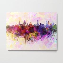 Manama skyline in watercolor background Metal Print
