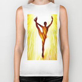 Ladies figure skating. Ballet dancer, ballerina. Winter sport ice rink Biker Tank