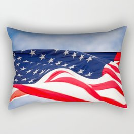 Its a grand ol flag waving in the breeze on a beautiful Memorial Day Rectangular Pillow