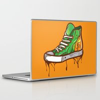 sneaker Laptop & iPad Skins featuring Green Sneaker by ArievSoeharto
