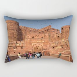 Agra Fort entrance with visitors and pigeons, India Rectangular Pillow
