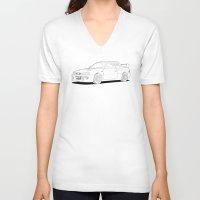 subaru V-neck T-shirts featuring Subaru Impreza 22B STI Type UK Line Illustration by Digital Car Art