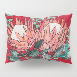 Delft Bird Vase of Proteas on Red Pillow Sham