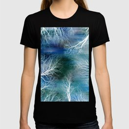 Abstract Midnight Trees Turquoise Teal T-shirt