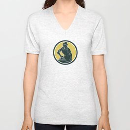 African American Woman Ironing Clothes Woodcut Unisex V-Neck