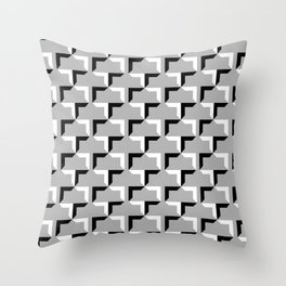 Cornered Pattern - Black and White on Gray Throw Pillow