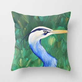 Heron in the Grass Throw Pillow
