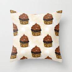 Chocolate cupcakes pattern Throw Pillow