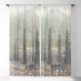 Mountain Black Bear Sheer Curtain