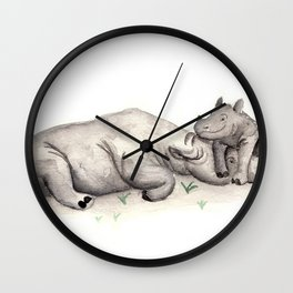 Mama rhino Wall Clock