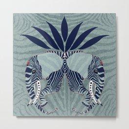 Zebra Elephant in blue Metal Print