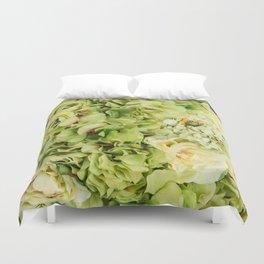 Green Flowers Duvet Cover