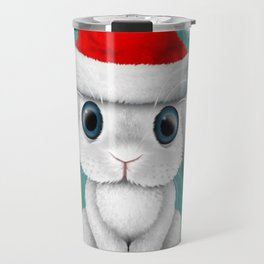 White Floppy Eared Baby Bunny Wearing a Santa Hat Travel Mug