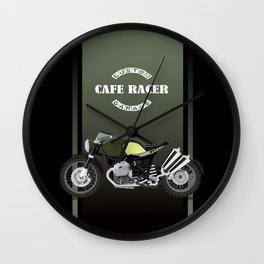 vintage motorcycle poster vector illustration Wall Clock