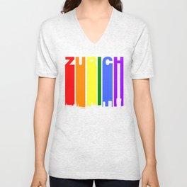 Zurich Switzerland Gay Pride Rainbow Skyline Unisex V-Neck
