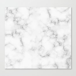The Perfect Classic White with Grey Veins Marble Canvas Print