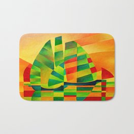 Chinese Junks, Sunset, Sails and Shadows Bath Mat