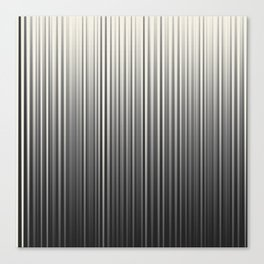 Soft Industrial Cream and Black Blended Random Vertical Lines Canvas Print
