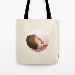 Lion Kiss a Deer Tote Bag