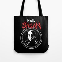 carl sagan Tote Bags featuring HAIL SAGAN by Normal-Sized Deet