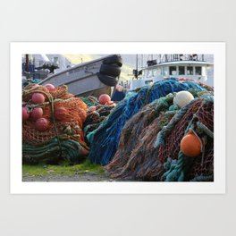 Dutch Harbor Fishing Nets and Boats Art Print