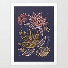 Bohemian Florals in Blue + Coral Art Print