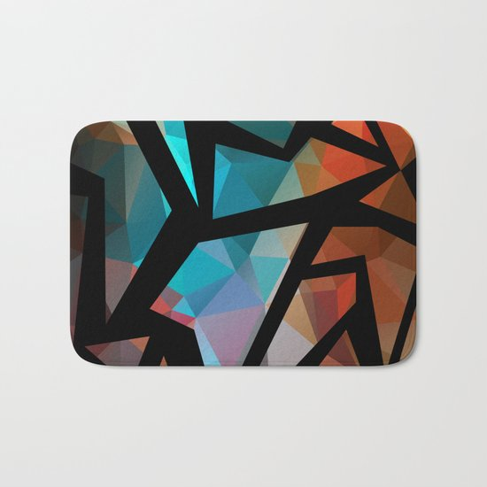 Abstract background of triangles polygon print. Bright dark design colors Bath Mat