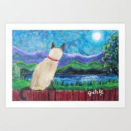 Siamese Cat in the Moonlight Painting Art Print