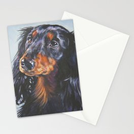 long haired Dachshund art portrait from an original painting by L.A.Shepard Stationery Cards