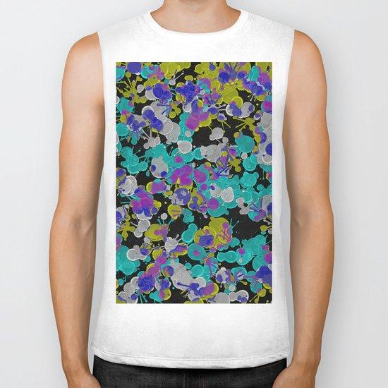 Dark Splatter - Abstract, paint splatter pattern in black, cyan, yellow, white and green Biker Tank