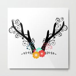 Floral Antler Metal Print