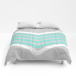 Teal and White Chevron on Silver Grey Wood Comforters