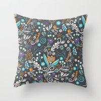 Flower circle pattern, brown Throw Pillow