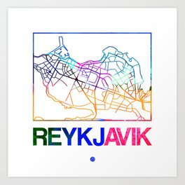 Reykjavik Watercolor Street Map Art Print