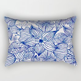 Hand painted royal blue white watercolor floral illustration Rectangular Pillow