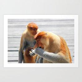 Proboscis Monkey Family Art Print