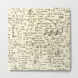 Physics Equations // Parchment Metal Print