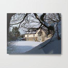 WEST DOWN HOUSE IN SNOW BRADWORTHY HOLSWORTHY NORTH DEVON Metal Print